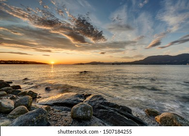 Sunset view at Point Grey Park beach, Vancouver, British Columbia, Canada