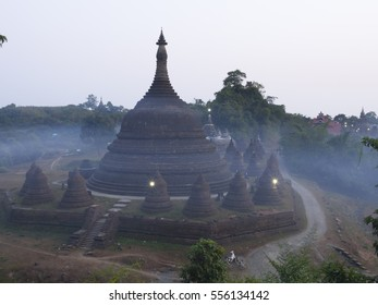 sunset view point at Yatanabon pagoda temple in Mrak-U, Myanmar
