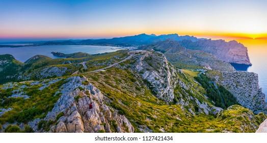 Sunset view of Port de Pollenca and Pollenca bay, Mallorca, Spain