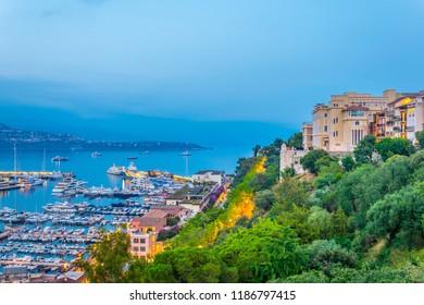 Sunset view of Port Hercule in Monaco