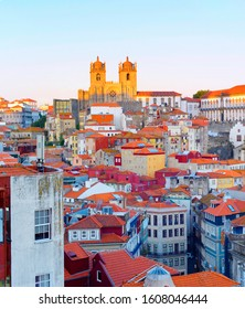 Sunset view of Porto Old Town with Porto Cathedral on top. Portugal