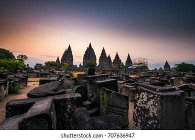 Sunset view of the Prambanan Temple