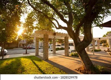 Sunset view of a public gathering space in the Civic Center area of Chino, California, USA.
