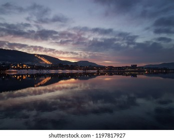 Sunset view of a river in Drammen, Norway