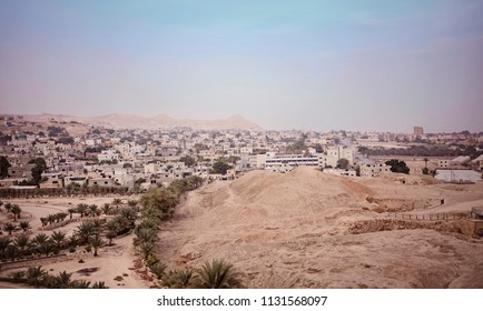 The sunset view of the ruin city wall and historic city Jericho, which could be the oldest city of the World.