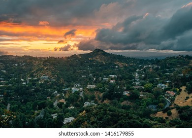 Sunset view from Runyon Canyon Park in the Hollywood Hills, Los Angeles, California