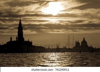 Sunset view of San Giorgio Maggiore in Venice, Italy