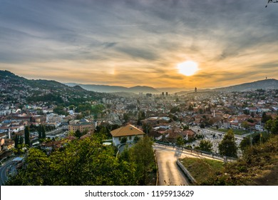 Sunset view of Sarajevo from most popular panoramic spot in Sarajevo; Yellow Fortress (Zuta Tabija), Vratnik