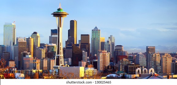 Sunset view of Seattle skyline, WA, USA