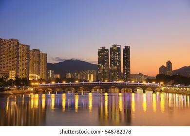 Sunset view at Shing Mun River, Shatin, Hong Kong