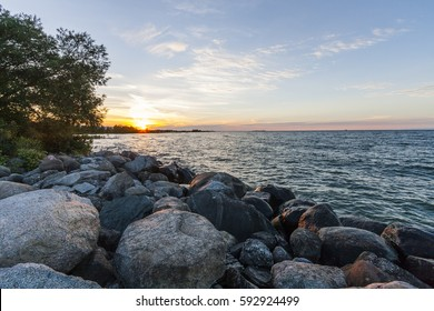 sunset view from the shore of the lake