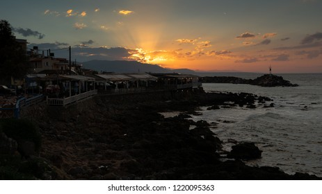 A sunset view of Sissi habour. Sissi is a small town in NE Crete, one of the Greek Islands.