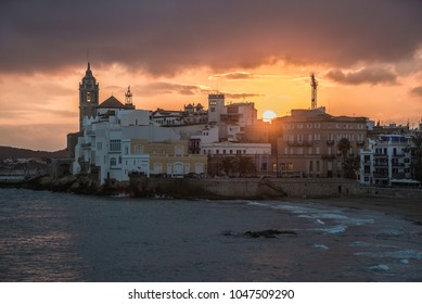 Sunset view in Sitges, Spain