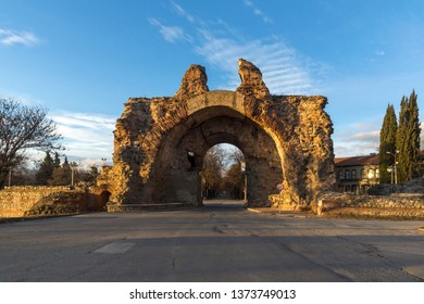 Sunset view of The South gate know as The Camels at roman fortifications in ancient city of Diocletianopolis, town of Hisarya, Plovdiv Region, Bulgaria