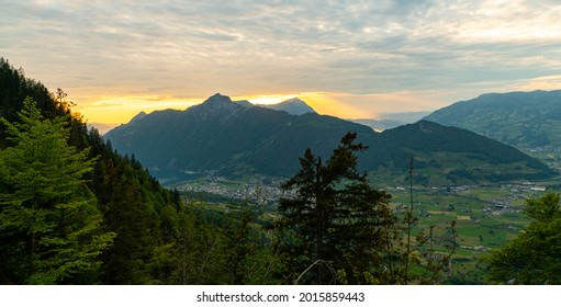 Sunset view from Stoos in the Swiss alps on a cloudy day