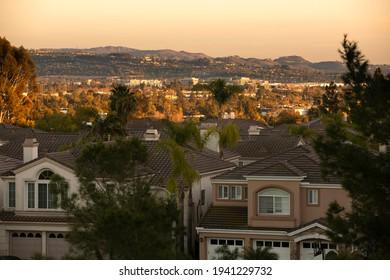 Sunset view of suburban housing in Fullerton, California, USA.