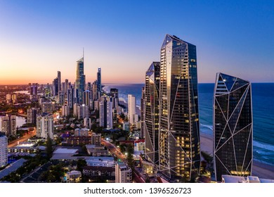 Sunset view of Surfers Paradise on the Gold Coast looking from the south, Queensland, Australia