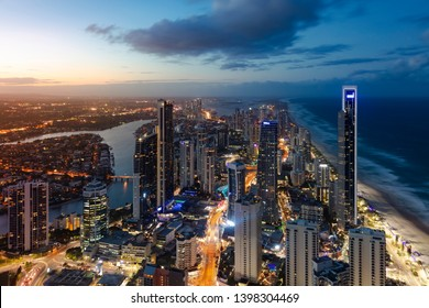 Sunset view of Surfers Paradise on the Gold Coast, Queensland, Australia