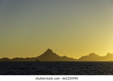Sunset view of Tetakawi Mountain in San Carlos, Mexico, from a beach in Guaymas, Sonora, Mexico