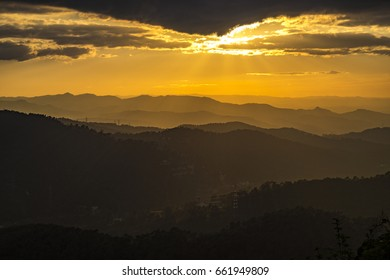 Sunset view from Tibidabo mountain from Collserola park in Barcelona Catalonia Spain