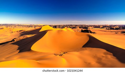Sunset view to Tin Merzouga dune at Tassili nAjjer national park, Algeria