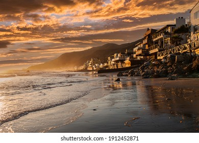 Sunset view of Topanga beach in scenic Malibu, California.