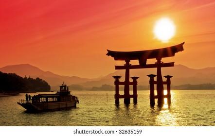 Sunset view of Torii gate, Miyajima, Japan
