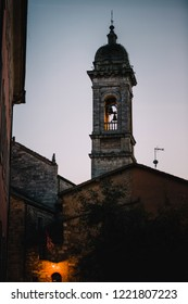 Sunset view of the Town bell in the alleys of the Italian towns