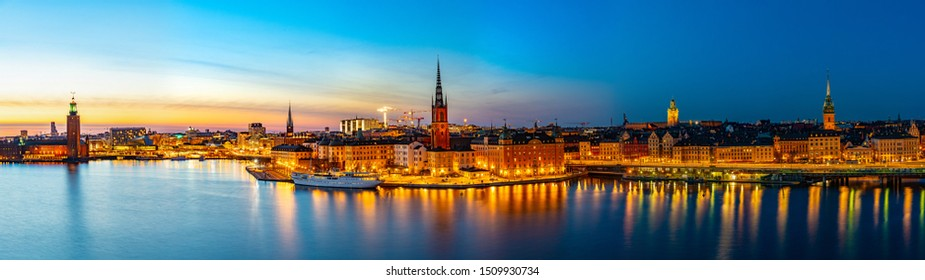 Sunset view of Town hall and Gamla stan in Stockholm viewed from Sodermalm island, Sweden