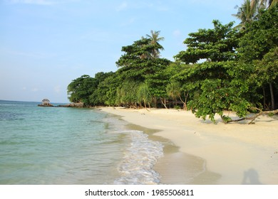 Sunset view of the tropical Ujung Gelam beach with palm trees and yeallow sand and sky line in the background on Karimunjava island, Indonesia