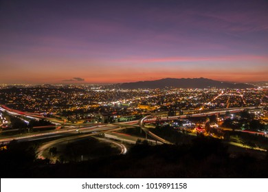 Sunset view of Ventura 134 freeway at the Glendale 2 freeway in Los Angeles, California.