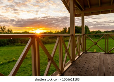 Sunset view from the veranda of a private house