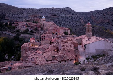 Sunset view of the village of Albarracin. Spain