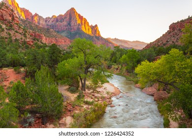 Sunset View of The Watchman Peak and the Virgin River in Zion National Park, Utah, USA
