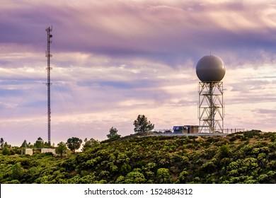 Sunset view of weather station (the Bay Area NEXRAD weather radar) close to the top of Mt Umunhum, San Jose, Santa Cruz mountains, south San Francisco bay area, California