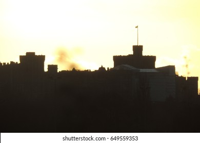 A sunset view of Windsor castle, seen from Slough in Berkshire looking south