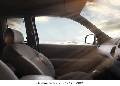 sunset viewed from inside a car