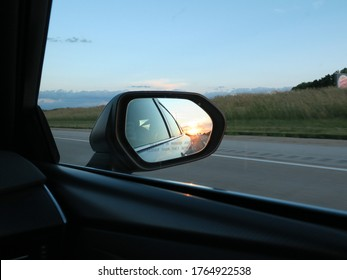 Sunset viewed from Passenger Side Car mirror