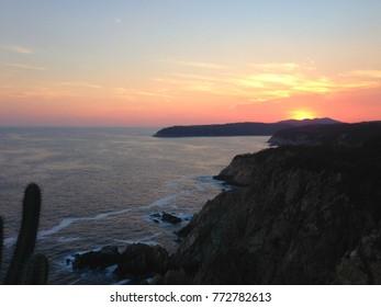 sunset from a viewpoint in bahias de Huatulco