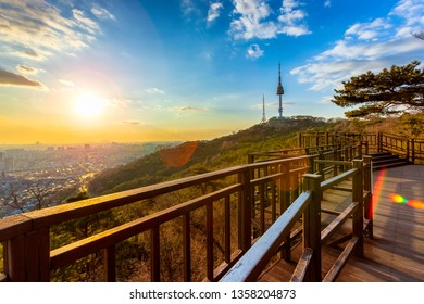 Sunset and Viewpoint Seoul,South Korea downtown best view landmark in Namsan mountain and beautiful cloudy at Seoul tower