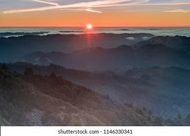 Sunset views of Marin County Hills from Mount Tamalpais East Peak. Mount Tamalpais State Park, Marin County, California, USA.