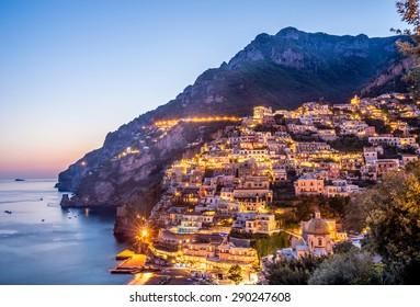 Sunset  in village of  Positano at Amalfi Coast, Italy.