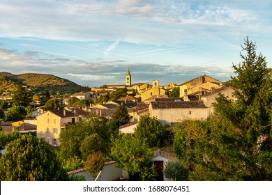 Sunset in the village Vallon Pont d'Arc and the Ardeche mountains in France