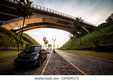 Sunset in Villena bridge in miraflores, Lima Peru,
