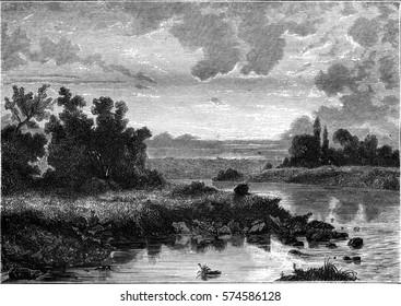 Sunset, vintage engraved illustration. Magasin Pittoresque 1846.