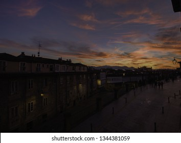 Sunset in Vitoria-Gasteiz in the province of Alava, in the Basque Country.