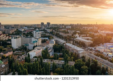 Sunset in Voronezh. Aerial view of Voronezh downtown in summer evening.