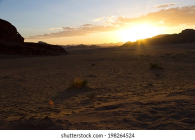Sunset at Wadi Rum desert,Jordan