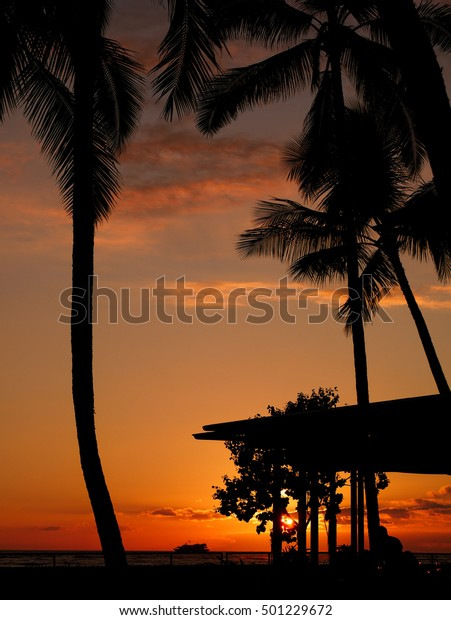 Sunset Waikiki Beach Waikiki Honolulu Oahu Stock Photo Edit