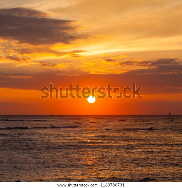 Sunset Waikiki Beach Honolulu On Oahu Stock Image Download Now